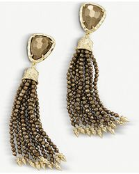 Kendra Scott - Blossom 14ct Gold-plated And Pyrite Stone Earrings - Lyst