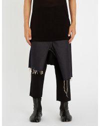 Rick Owens - Asymmetric Frayed-hem Denim Skirt - Lyst