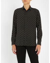 Saint Laurent - Playing Card-print Regular-fit Silk-crepe Shirt - Lyst