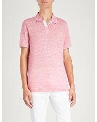Michael Kors - Striped Linen And Cotton-blend Polo Shirt - Lyst
