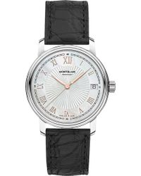 Montblanc - 114366 Tradition Stainless Steel And Leather Watch - Lyst