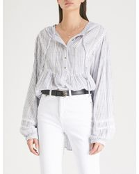 Free People - Baja Babe Striped Cotton-blend Hoody - Lyst