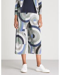 Pleats Please Issey Miyake - Patterned High-rise Wide Pleated Cropped Trousers - Lyst