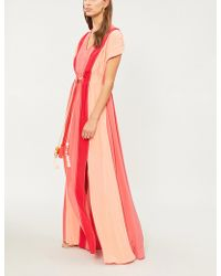 Peter Pilotto - Belted Silk-crepe Gown - Lyst