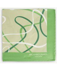 Richard James - 50s Ripple Silk Pocket Square - Lyst