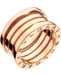 BVLGARI - B.zero1 Four-band 18kt Pink-gold Ring - Lyst