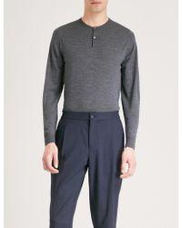 John Smedley - Russet Button-detail Wool Jumper - Lyst