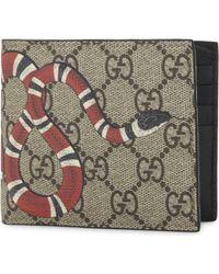 Gucci - Kingsnake Print Gg Supreme Billfold Wallet - Lyst