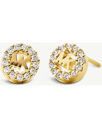 Michael Kors - Round Monogram Pave-embellished Yellow Gold-plated Stud Earrings - Lyst