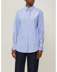 Sandro - Bead-embellished Striped Cotton Shirt - Lyst