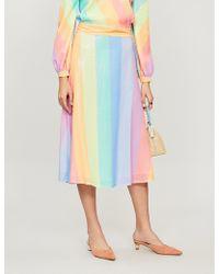 Olivia Rubin - Penelope Rainbow-striped Sequinned Skirt - Lyst