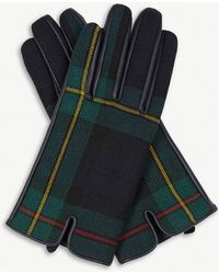 Sandro - Panelled Tartan And Leather Gloves - Lyst