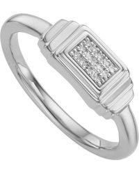 Monica Vinader - Baja Deco Sterling Silver And Diamond Ring - Lyst