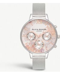 Olivia Burton - Ob16cgs06 Chrono Demi Dial Silver-plated Stainless Steel Match - Lyst