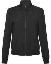 Shanghai Tang Mandarin Collar Jacquard Bomber Jacket With Frog Button - Black