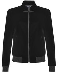 Shanghai Tang Mandarin Collar Velvet Bomber Jacket With Frog Button - Black