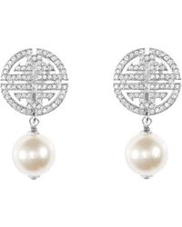 Shanghai Tang - Shou Earrings With Crystals And Imitation Pearl - Lyst