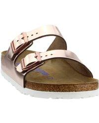 047329ec52a2 Lyst - Birkenstock Metallic Arizona Soft Footbed Slide in Purple
