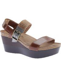 f7bc08ab6c Prada Patent Leather Espadrille Wedge Sandals in Natural - Lyst