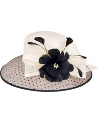 San Diego Hat Company - Sinamay Hat W/ Dot Overlay & Feather Trim Drs1013 - Lyst