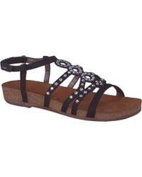 446d6664072b Lyst - Ash Vera Embossed-Leather Flatform Sandals in Black
