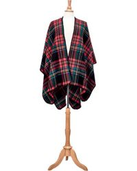San Diego Hat Company - Open Front Woven Plaid Poncho Bsp3546 - Lyst