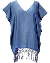 San Diego Hat Company - V-neck Cotton Tunic With Fringe Hem Bst1705 - Lyst