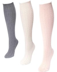 9b4aace07 Falke Striggings Cable Knit Knee High Socks in White - Lyst
