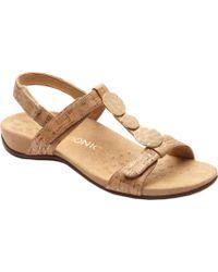 Vionic - Rest Farra Cork Metallic Ornament T-strap Sandals - Lyst