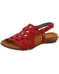 El Naturalista Wo Heeled Sandals Red Wakataua N5064