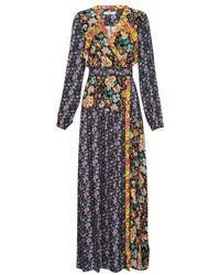 FRAME - Floral Panel Dress Noir Multi - Lyst