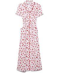 Harley Viera-Newton - Long Maria Button Down Dress In Cherry - Lyst