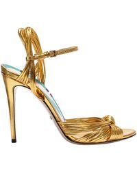 Gucci - Metallic Gold 'allies' Sandal - Lyst
