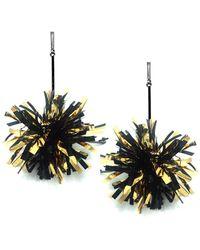"""Tuleste - 4"""" Black And Gold Lurex Pom Pom Earrings - Lyst"""