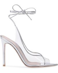 b3248d4d4c0 Lyst - Gianvito Rossi Transparent Strap Sandals in White - Save ...