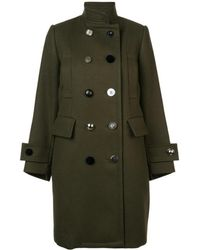 Sacai - Army Green Wool Double Breasted Coat - Lyst