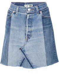 RE/DONE - Blue Denim Skirt - Lyst