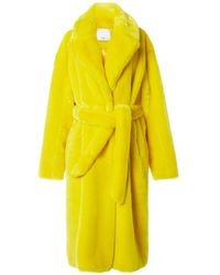 Tibi - Yellow Luxe Faux Fur Oversized Trench - Lyst