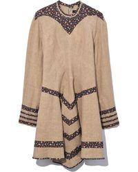 a6a95f92abc Lyst - Isabel Marant Linen Fringe-trimmed Dress Neutrals in Natural