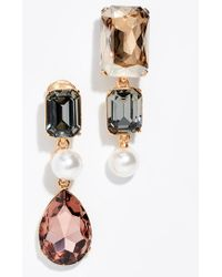 558f18c0c748 Lyst - Oscar de la Renta Bold Crystal 3-drop Clip-on Earrings in Black