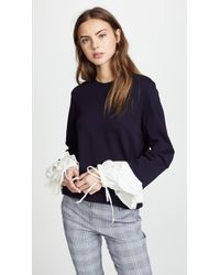CLU - Sweatshirt With Contrast Ruffles - Lyst