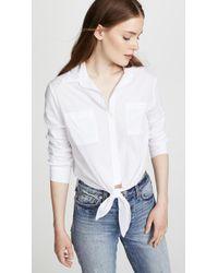 Enza Costa - L/s Front Tie Shirt - Lyst