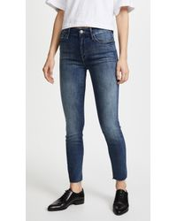 Mother - High Waisted Looker Ankle Fray Jeans - Lyst