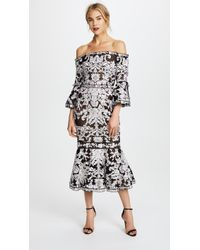 Marchesa notte - Off-the-shoulder Guipure Lace And Tulle Midi Dress - Lyst