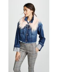 Tortoise - Marco Cropped Denim Jacket With Removable Faux Fur Collar - Lyst