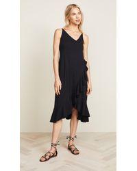 Sundry - Crossover Ruffle Midi Dress - Lyst
