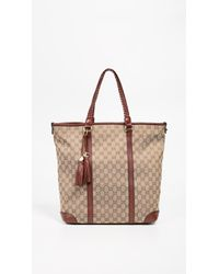 91465bc3f3a What Goes Around Comes Around - Gucci Burgundy Canvas Marrakech Tote - Lyst