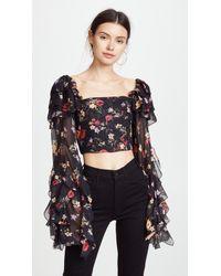 Rodarte - Floral Long Sleeve Cropped Blouse - Lyst