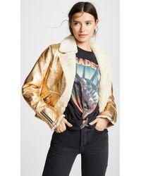 Doma Leather - Metallic Leather Jacket - Lyst