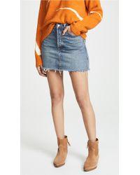 Free People - Rugged A-line Denim Skirt - Lyst